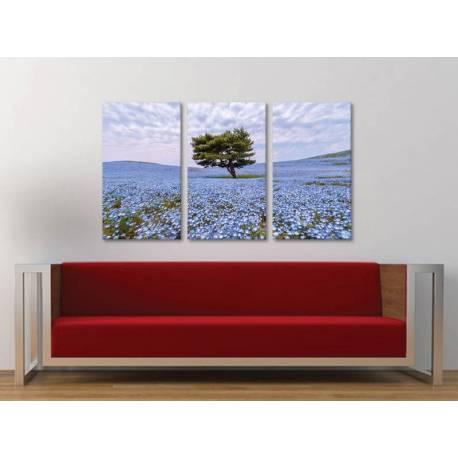 Három részes vászonkép - Blue flowers & tree alone - kék virágok, magyányos fa vászonkép 3a-100263 - 1