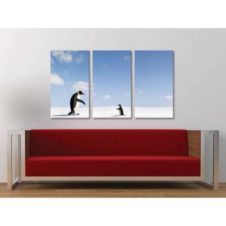 Három részes vászonkép - Come back - pingvinek vászonkép 3a-100283 - 1