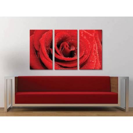 Három részes vászonkép - Red rose with drops - vörös rózsa vízcseppekkel - vászonkép 3a-100291