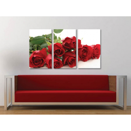 Három részes vászonkép Red roses dreaming - vörös rózsák álma - no. 3a-100166
