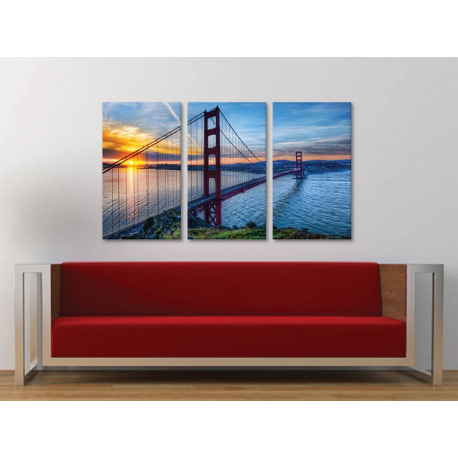 Három részes vászonkép - Golden Gate Sunset - Naplemente és a Golden Gate híd vászonkép 3a-100319 - 1