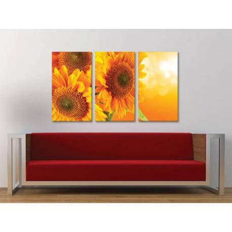 Három részes vászonkép - Yellow Sunflower - sárga napraforgó vászonkép 3a-100321