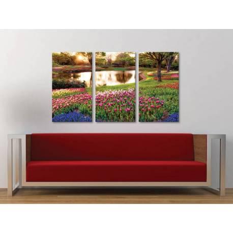 Három részes vászonkép - Spring garden - tavaszi kert vászonkép 3a-100328