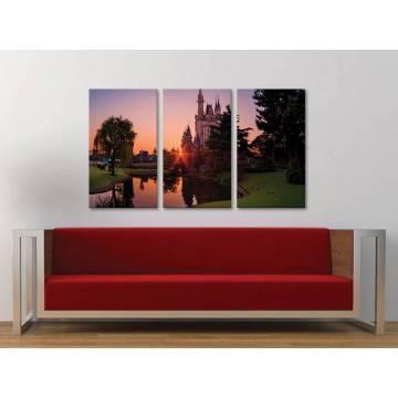 Három részes vászonkép - Castle in sunset - kastély a naplementében 3a-100329