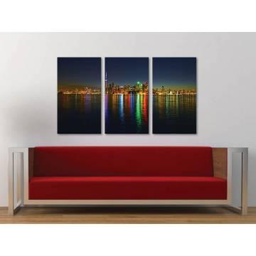 Három részes vászonkép - Colored reflexions of city - színes fények tükrözõdése 3a-100330