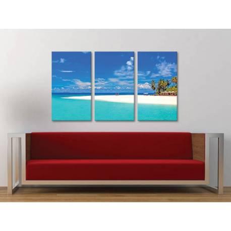 Három részes vászonkép - Just relax - pálmafák és tengerpart vászonkép 3a-100332 - 1