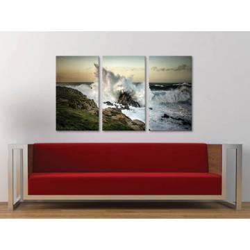 Három részes vászonkép - The power of water - hullámok a tengerparton vászonkép 3a-100346
