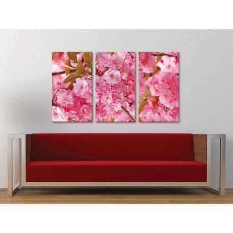 Három részes vászonkép - Pink dreams - rózsaszín virágok 3a-100389