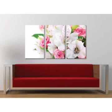 Három részes vászonkép - Lilies and roses - liliom és rózsa vászonkép 3a-100400