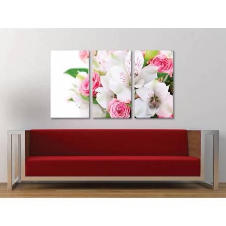 Három részes vászonkép - Lilies and roses - liliom és rózsa vászonkép 3a-100400 - 1
