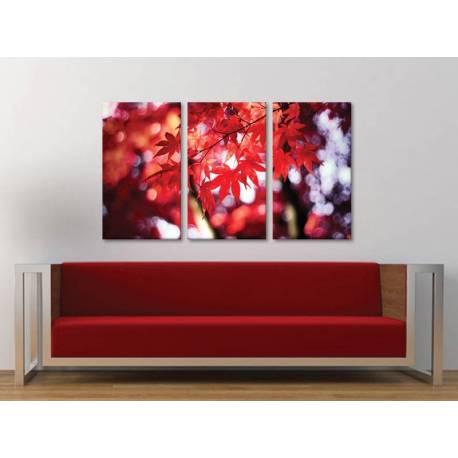 Három részes vászonkép - Red autumn leaf - õszi falevél vászonkép 3a-100428