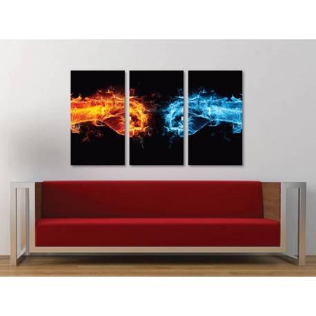 Három részes vászonkép - Fire vs. Water - tûz a víz ellen - vászonkép 3a-100440