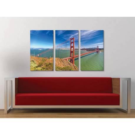 Három részes vászonkép - Golden Gate - vászonkép 3a-100461