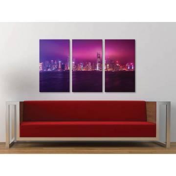 Három részes vászonkép - The pink city - nagyváros vászonkép 3a-100472