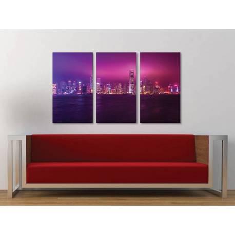 Három részes vászonkép - The pink city - nagyváros vászonkép 3a-100472 - 1