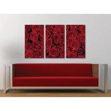 Három részes vászonkép - Red roses for ladies - vörös rózsák - vakrámára feszített vászonkép 3a-100216